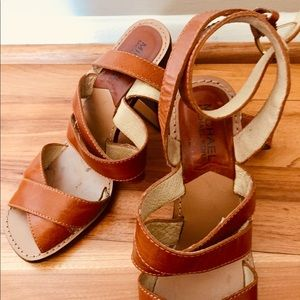 Michael Kors brown leather strappy sandals, 7.5